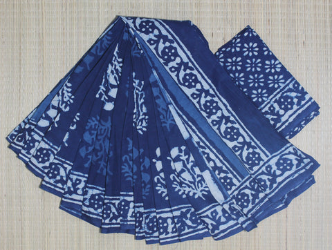 LPIS56- baghru block printed indigo malmal cotton saree and block print blouse