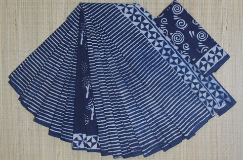 LPIS57- baghru block printed indigo malmal cotton saree and block print blouse