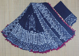 LPIS59- baghru block printed indigo malmal cotton saree with pompom and block print blouse