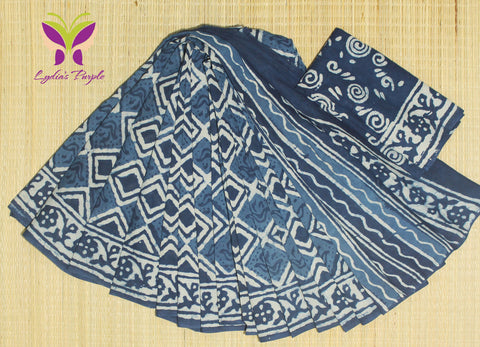 LPIS62- Block printed indigo malmal cotton saree with printed blouse