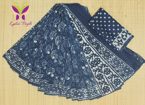 LPIS63- Block printed indigo malmal cotton saree with printed blouse