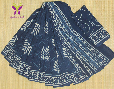 LPIS64- Block printed indigo malmal cotton saree with printed blouse