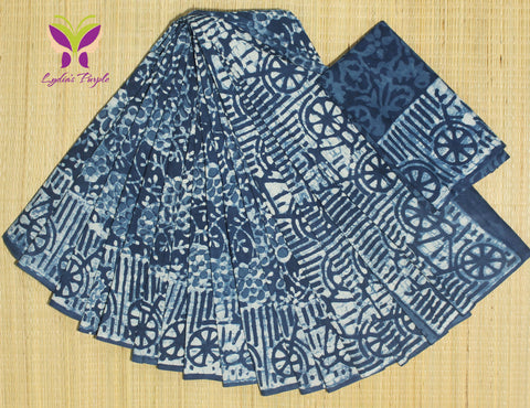 LPIS66- Block printed indigo malmal cotton saree with printed blouse
