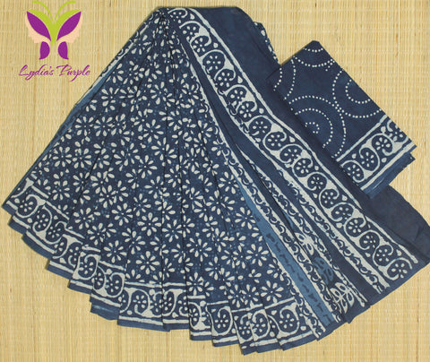 LPIS67- Block printed indigo malmal cotton saree with printed blouse