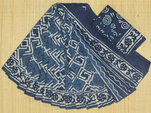 LPIS68- Block printed indigo malmal cotton saree with printed blouse