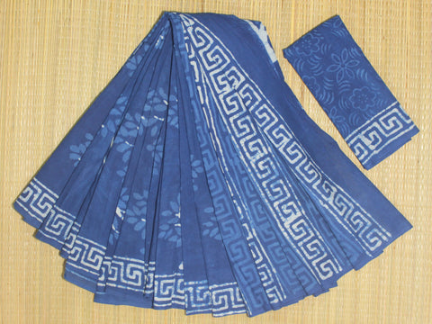 LPIS69- Block printed indigo malmal cotton saree with printed blouse