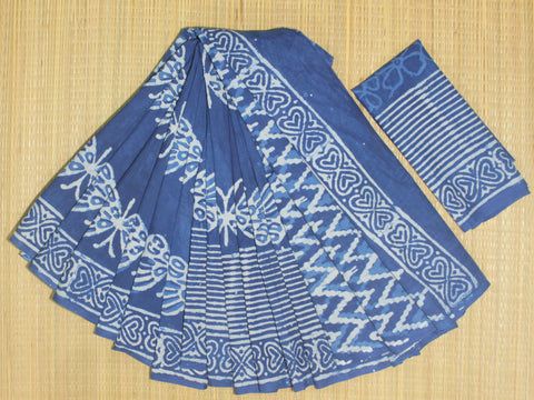 LPIS70- Block printed indigo malmal cotton saree with printed blouse