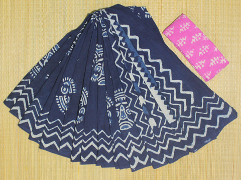 LPIS71- Block printed indigo malmal cotton saree with printed blouse