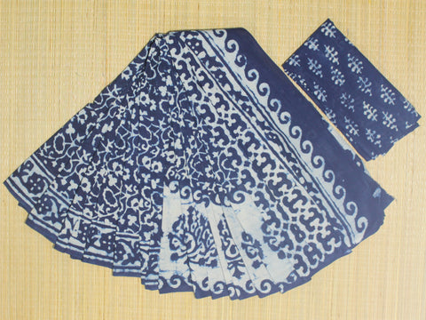 LPIS 72 - baghru  printed malmal indigo cotton saree with blouse