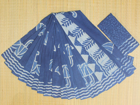 LPIS 73 - baghru  printed malmal indigo cotton saree with blouse