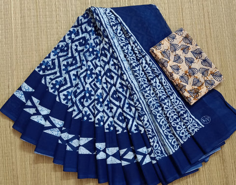 LPIS 76 - baghru  printed malmal indigo cotton saree with blouse