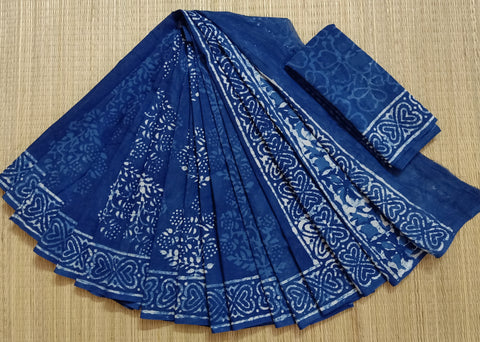 LPIS 77 - baghru  printed malmal indigo cotton saree with blouse