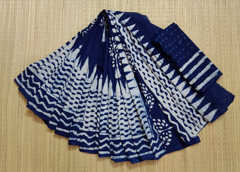 LPIS 78- baghru  printed malmal indigo cotton saree with blouse