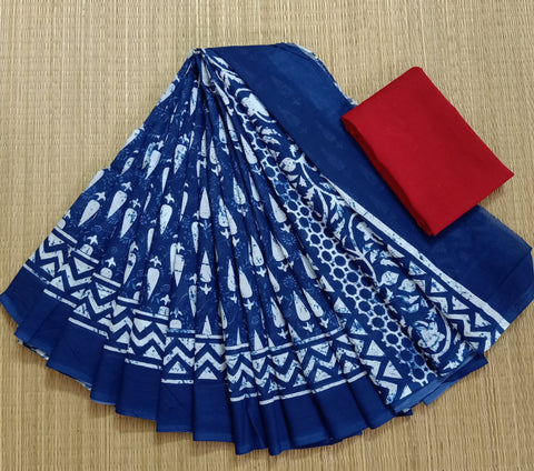 LPIS 79- baghru  printed malmal  indigo cotton saree with blouse