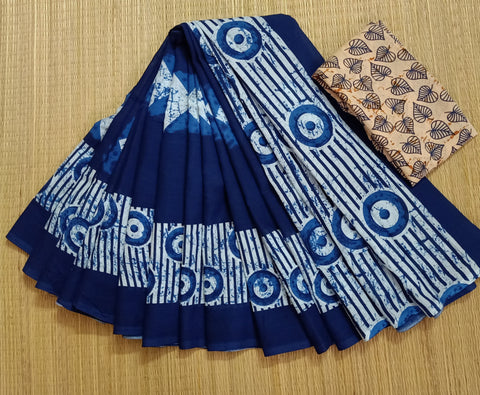 LPIS 80- baghru  printed malmal  indigo cotton saree with blouse
