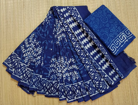 LPIS 81- baghru  printed malmal  indigo cotton saree with blouse