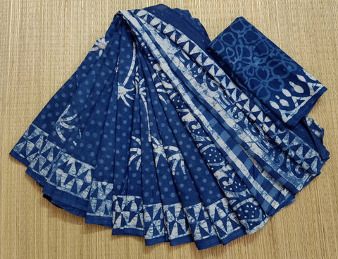 LPIS 82- baghru  printed malmal  indigo cotton saree with blouse