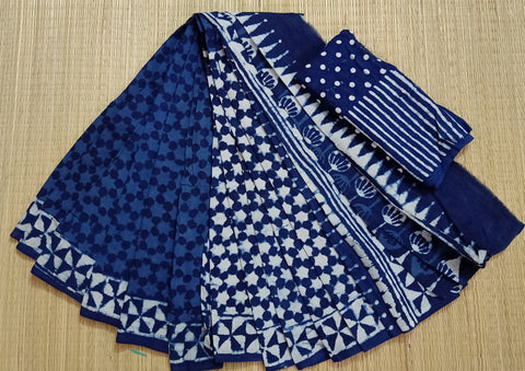 LPIS 83- baghru  printed malmal  indigo half and half cotton saree with blouse