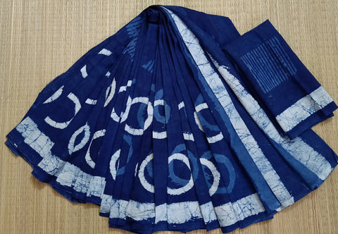 LPIS 84- baghru  printed malmal  indigo cotton saree with blouse