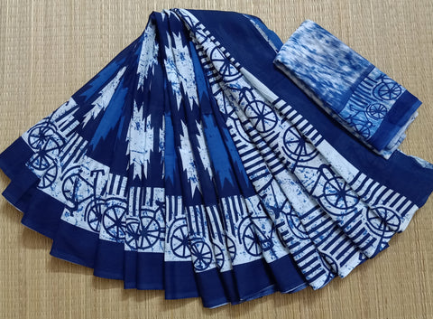 LPIS 85- baghru  printed malmal  indigo cotton saree with blouse