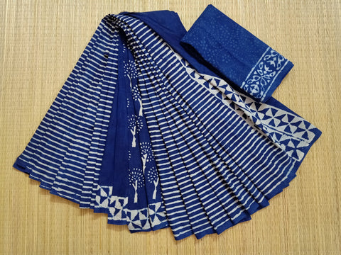 LPIS 86- baghru  printed malmal  indigo partly pallu cotton saree with blouse