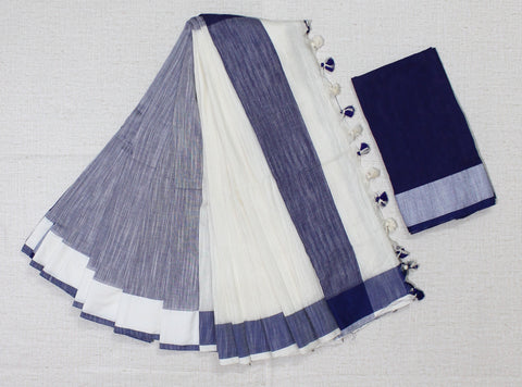 blue khadi cotton saree