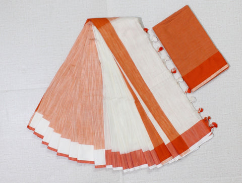 LPPKOW01-handloom khadi cotton off white and orange saree with running blouse