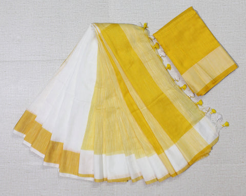 LPPKYW01-handloom khadi cotton off white and yellow saree with running blouse