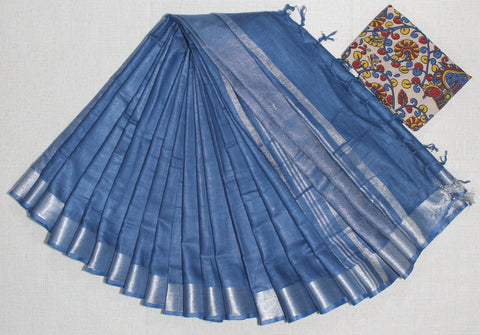 LPSCBKB01- handloom khadi cotton saree with silver zari border with running blouse and extra designer blouse