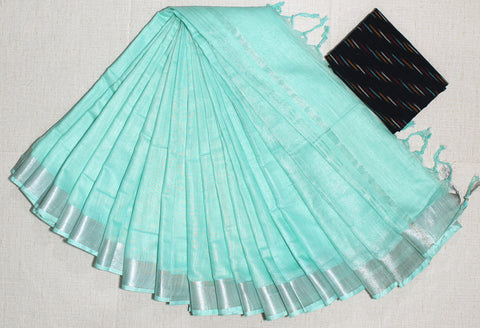 LPSCFGIK01- handloom khadi cotton saree with silver zari border with running blouse and extra designer blouse