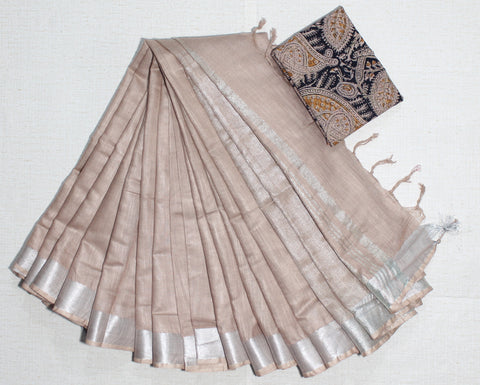 LPSCOKB01- handloom khadi cotton saree with silver zari border with running blouse and extra designer blouse