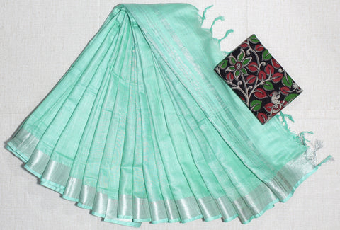 LPSCPGKB01- handloom khadi cotton saree with silver zari border with running blouse and extra designer blouse