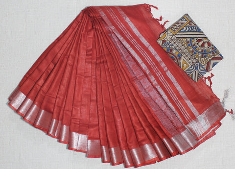 LPSCRKB01- handloom khadi cotton saree with silver zari border with running blouse and extra designer blouse