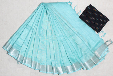 LPSCTKB01- handloom khadi cotton saree with silver zari border with running blouse and extra designer blouse