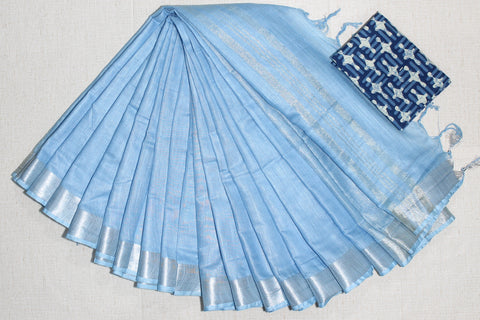 LPSCWBIB01- handloom khadi cotton saree with silver zari border with running blouse and extra designer blouse