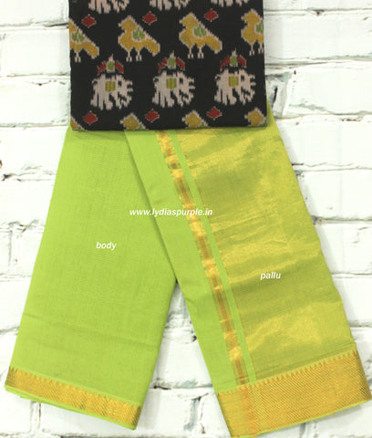 MPPGK-mangalari  cotton handloom saree with kalamkari blouse( double blouse)