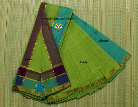 LPMS1-handloom mangalagiri double border cotton saree - LydiasPurple