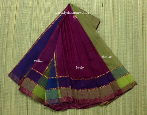 LPMS2-handloom mangalagiri double border cotton saree - LydiasPurple