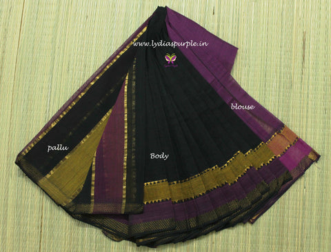 LPMS3-handloom mangalagiri double border cotton saree - LydiasPurple