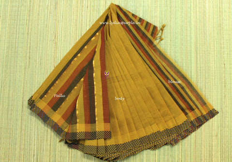 LPMSMB1-handloom mangalagiri motif border cotton saree - LydiasPurple