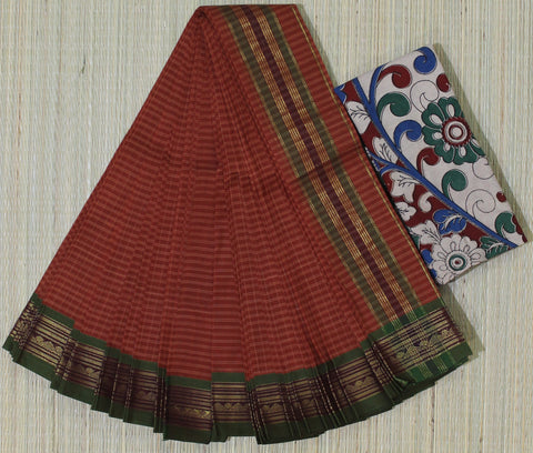 Narayanpet cotton saree with kalamkari blouse - lydiaspurple
