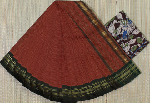 brick red narayanpet cotton saree
