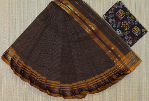 brown narayanpet cotton saree