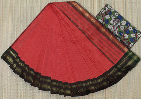 peach narayanpet cotton saree