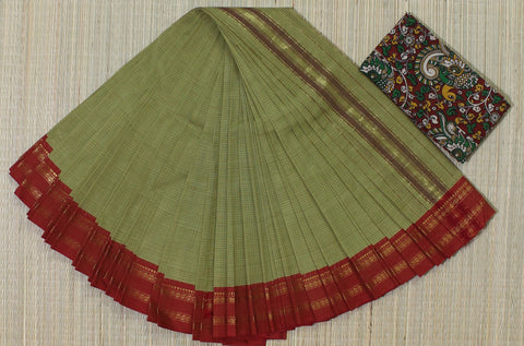 NSCSPGR01- hand woven pista green and red narayanpet cotton saree with kalamkari blouse
