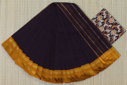 NSCSPMY01- hand woven purple and mustard yellow narayanpet cotton saree with kalamkari blouse