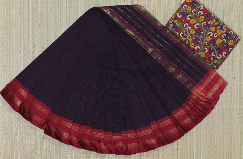 NSCSPRP01- hand woven purple green and mustard yellow narayanpet cotton saree with kalamkari blouse