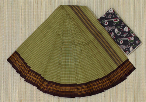 NTBC1- hand woven pista green and brown narayanpet cotton saree with kalamkari blouse