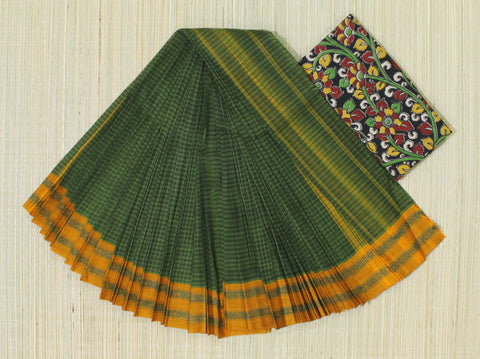 NTBC2- hand woven green and mustard yellow narayanpet cotton saree with kalamkari blouse