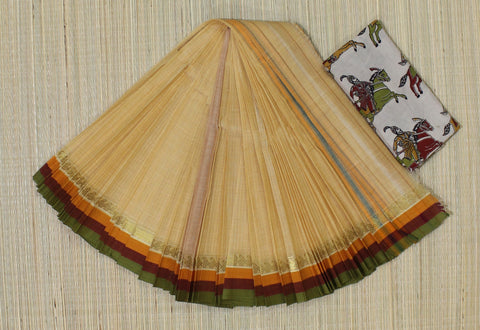 NTBC3- hand woven biscuit colour saree with tri colour border  narayanpet cotton saree with kalamkari blouse